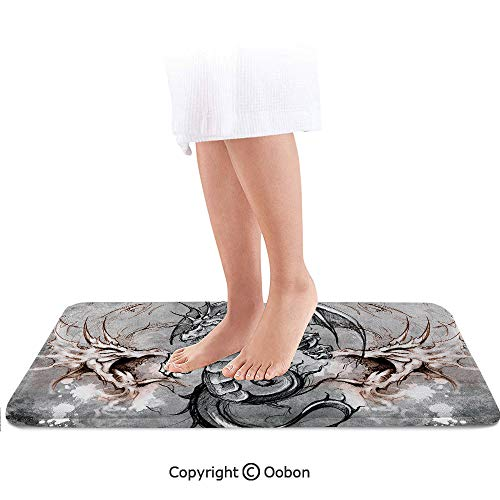 Dragon Bath Mat,Scary Creature in Sketch Stylized Horror