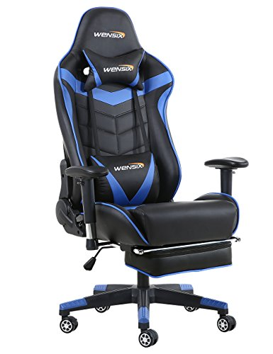 Like Leather Cushion Swivel Recliner (WENSIX Ergonomic Gaming Chair Recliner Computer Chair for Gaming Racing Style Office Chair PU Leather Ergonomic E-Sports Chair Height Adjustable Gaming Desk Chair with Lumbar Support Footr (Blue-04))