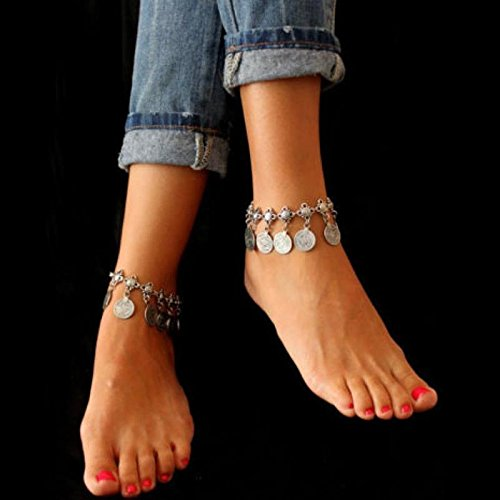 (usongs Foot Chain anklet ankle chain women girls students sister girls double natural fresh water flat personality Ms Summer Decoration)