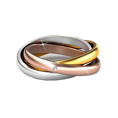Cate & Chloe Kenzie 18K Gold Ring w/Swarovski Crystals, Interlocking Rings, Multicolor Interlocked Ring with Gold, Rose Gold, Silver Promise Ring for Girls, Round Diamond Cut Ring - MSRP $146