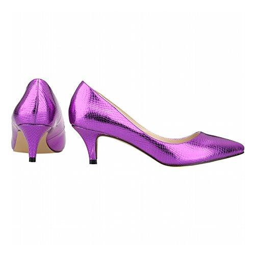 Haodasi Frühling Frau Candy Color Spitz Toe Flacher Mund Krokodil Muster Pumpen Schuhe Purple