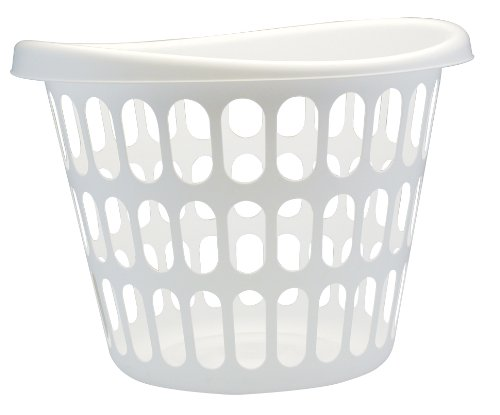Round Laundry Basket (United Solutions LN0019 White Two Bushel Plastic Designer Laundry Basket - 2 Bushel Laundry Bin Designer in White)