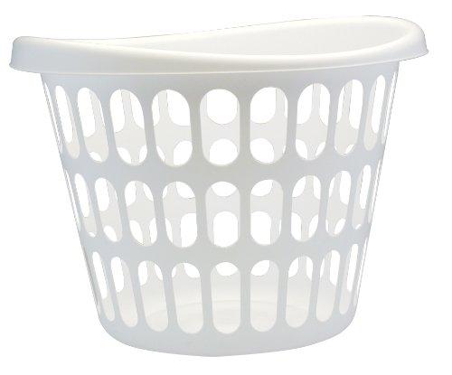 United Solutions LN0019 White Two Bushel Plastic Designer Laundry Basket - 2 Bushel Laundry Bin Designer in White