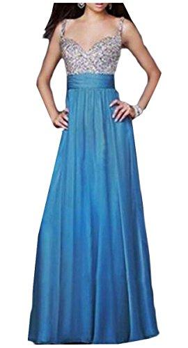 Jaycargogo Femmes Bretelles V Cou Robe De Bal En Mousseline De Soie Bleu Robe Sequin Formelle Du Parti