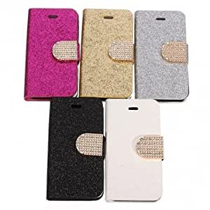 Bling Flip Magnetic PU Leather Stand Wallet Case For iPhone 4 4S --- Color:Golden