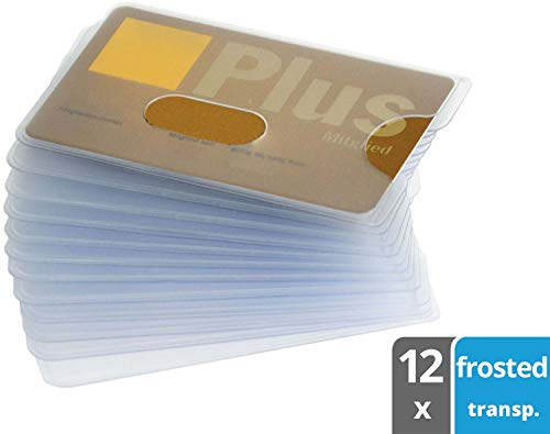 valonic Credit Card Sleeves 12x id Card Protector with Hole/Opening, Frosty Transparent, Strong Plastics, top Quality, Business Card Sleeves, Driver's License, Holder