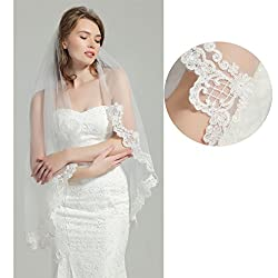 Wedding Bridal Veil with Comb 1 Tier Lace Applique Edge Fingertip Length 41""