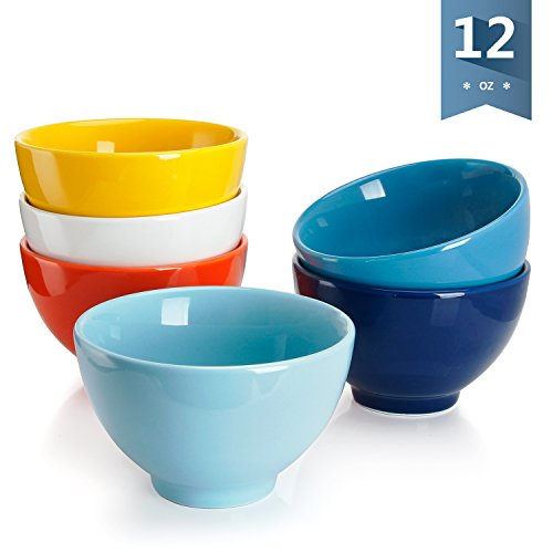 Sweese 1308 Porcelain Small Asian Bowls - 12 Ounce for Rice, Snack, Salad, Ice Cream - Set of 6, Assorted Colors