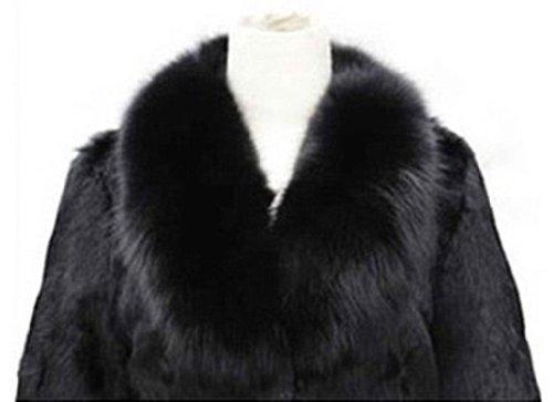 Womens Temperament Winter Warm Faux Mink Fur Fox Fur Collar Long-sleeved Coat