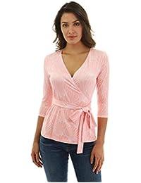 PattyBoutik Women 3/4 Sleeve Wrap Blouse
