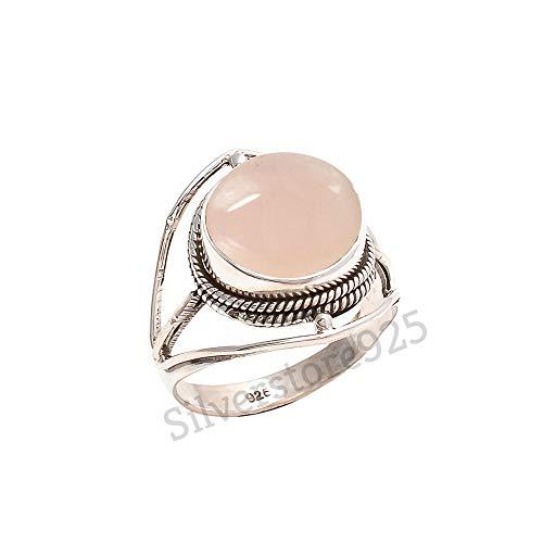 (Rose Quartz Ring 925 Sterling Silver Pink Stone Gemstone Ring For Girl Women Gift Ring Size 4 5 6 7 8 9 10 11 12 13 14 15 16)
