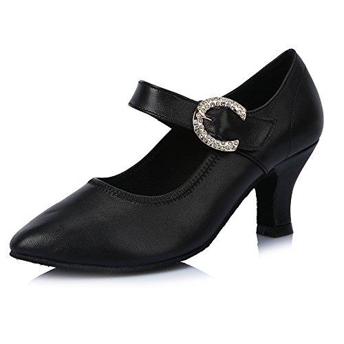 Roymall Kvinna Läder Latin Dansskor Med Strass Balsal Salsa Tango Prestanda Skor, Modell Af307 Svart