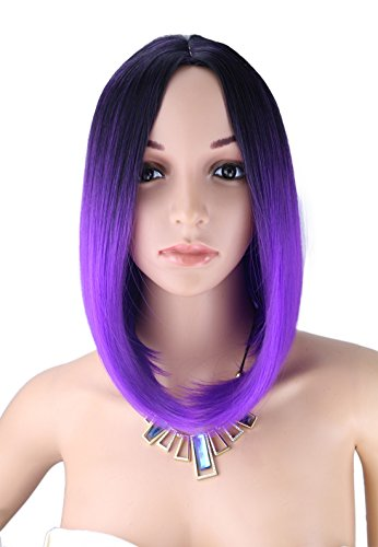 Purple Black Wig (Kalyss Women's Wig Short Bob Dark Root Wig Women's Fashion Top Quality Heat Resistant Synthetic Ombre Black to Bright Purple Hair Wigs for Women)