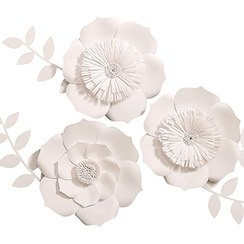 - Ling's moment Paper Flower Decorations for Wall, Large White Paper Flowers, Handcrafted Cardstock Flowers, 3D Wall Flowers for Wedding Backdrop, Baby Nursery, Archway, 8