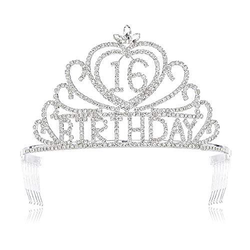 (DcZeRong Sweet Girls 16th Birthday Tiaras Crown Princess Girls 16 Birthday Crowns Crystal Tiara)