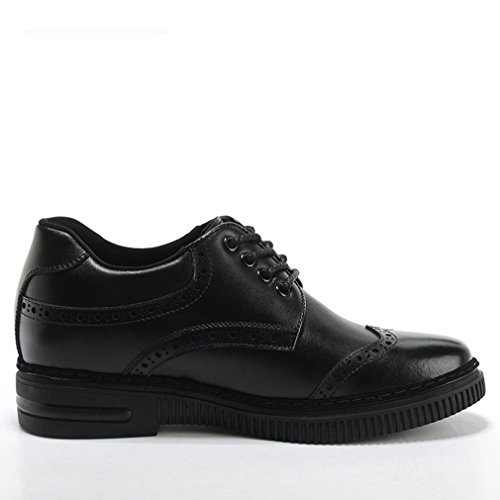 Shoes Brogue Taller 2 Black Leather Genuine inches 65 Men's Dress BIywdCx8qC
