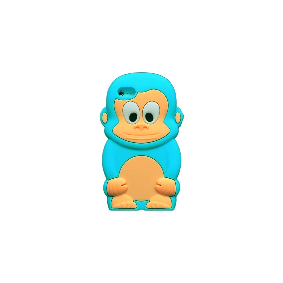 Bfun Packing NEW LIGHT BLUE Cute Monkey Soft Silicone Cover Case For Apple iPhone 5 5G Cell Phones & Accessories