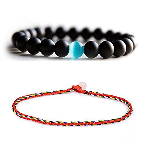 ate Onyx Beads Bracelets, Natural Stones Bead with Blue Semi-Precious Water Drop Stone Stretch Bracelet (H62-R1) (Cat Eye Cat Charm Bracelet)