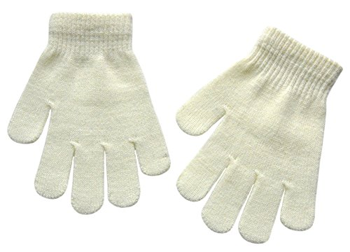 BaiX Boys and Girls Warm Winter Knitted Writing Gloves, 5-12 Years Old, White
