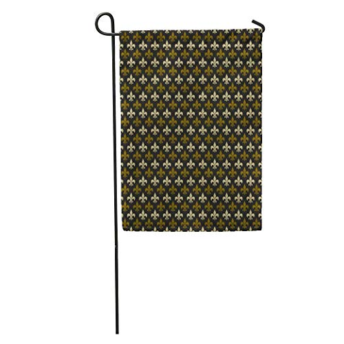 YhouqukehTshirt Garden Flag Brown Colonial Fleur De Lis Pattern Green Male Masculine Abstract Home Yard House Decor Barnner Outdoor Stand 12x18 Inches Flag ()