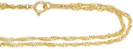 K18ゴールド 2連ブレスレッ ト スクリュー1.6mm幅 「1cm単位で選べる上品な2連チェーンブレス」 (15cm)