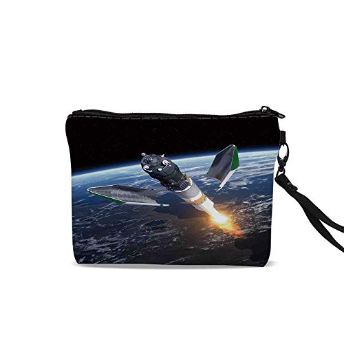 (Outer Space Decor Female Cosmetic Bag,Launch of Cargo Spacecraft in Progress Rocket Takes off Cosmos Universe Photo For Women Girl,9