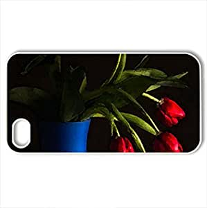 Tulips - Case Cover for iPhone 4 and 4s (Flowers Series, Watercolor style, White)