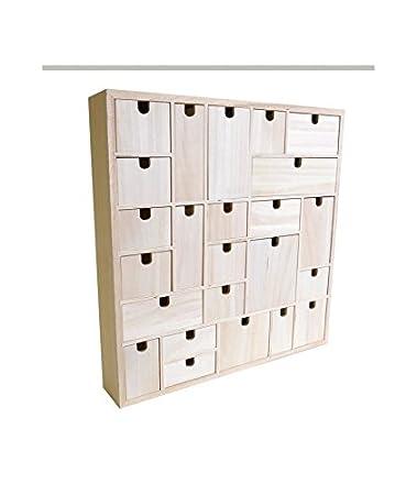 Artemio Adventskalender Zum Dekorieren, Geometrisches Muster, Holz, 40 X 40  X 6,