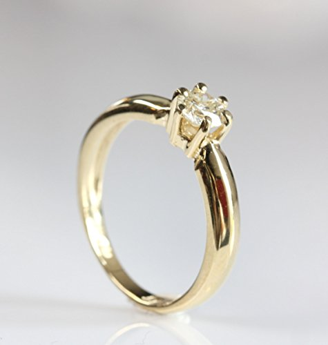1/2 carat Diamond Engagement Ring, Solitaire 14K Yellow Gold Ring, Women Jewelry