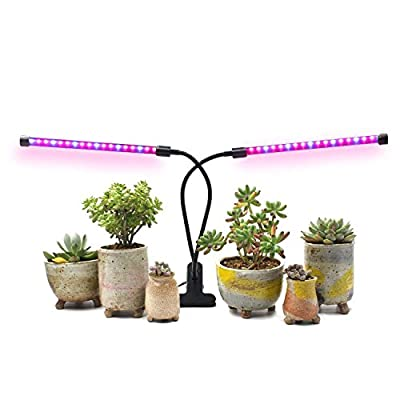 AMAZINGCATS [2018 Upgraded 18W Dual Head Timing Grow Lamp, 36 LED Chips with Red/Blue Spectrum for Indoor Plants, Adjustable Gooseneck, 3/6/12H Timer, 5 Dimmable Levels