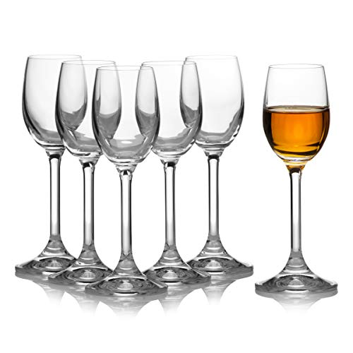 Clear Cordial Glass - Crystal Clear Liquor Drinking Shot Glasses Set of 6 / Hard, Small, Durable and Cool / Premium Bohemia Glass / 2.1 ounces / 65 milliliters