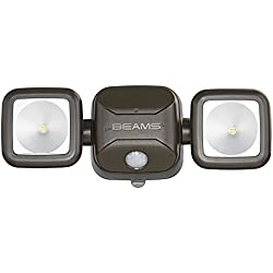 Mr. Beams MB3000 High Performance Wireless Battery Powered Motion Sensing LED Dual Head Security Spotlight, 500 Lumens, Brown, 1-Pack