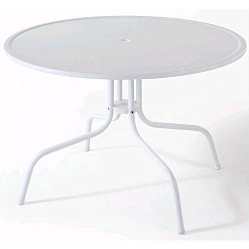 (Crosley Furniture Griffith 40-Inch Metal Outdoor Dining Table - Alabaster White)