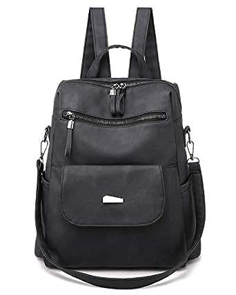 Qyoubi Women's Fashion Backpack Purse Anti-theft Girls Shopping Daypack Casual Convertible Multipurpose Travel Bag Black