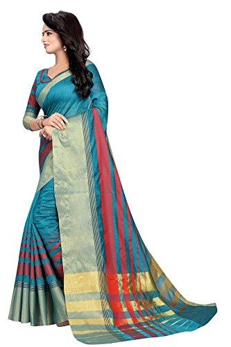 Causal Indien Et Pakistani Partie Usure Sari De Coton Avec Un Ciel Blouse Décousus Blue3