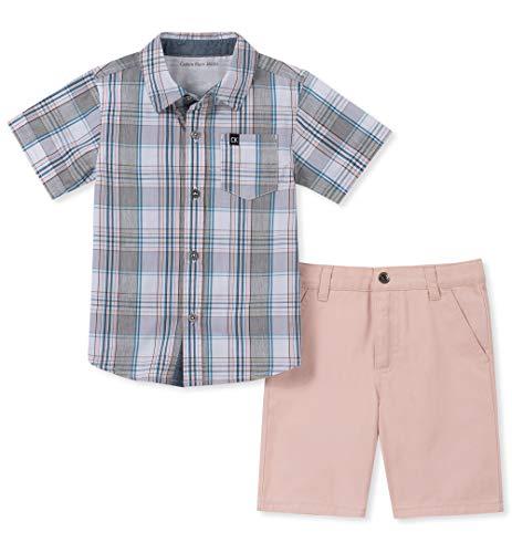 Hanukkah Dress - Calvin Klein Boys' Little 2 Pieces Shirt Shorts Set, Blue/Oatmeal, 6