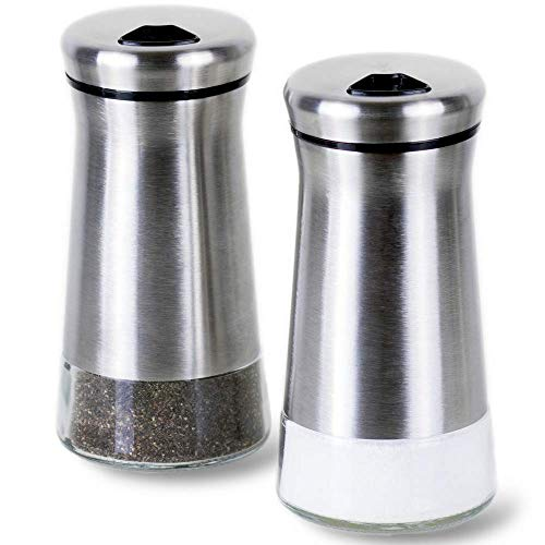 - Premium Salt and Pepper Shakers with Adjustable Pour Holes - Elegant Stainless Steel Salt and Pepper Dispenser - Perfect for Himalayan, Kosher and Sea Salts - Spices