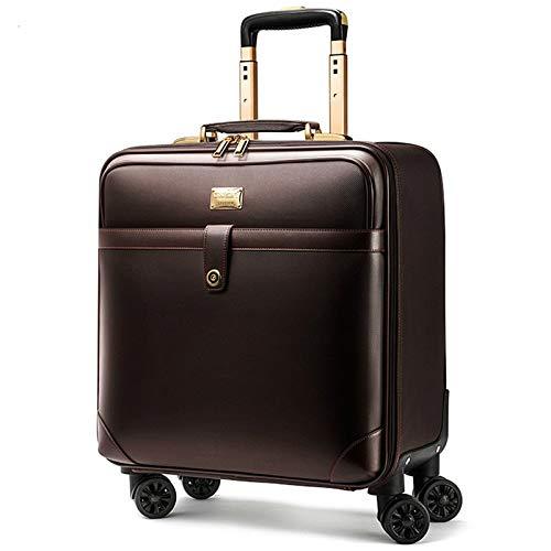 高級旅行スーツケースローリングスピナー荷物女性トロリーケース24インチホイールマン20インチボックスpvcヴィンテージキャビン旅行バッグトランク (Color : Brown, Size : Square) B07SX9MZ27 Brown Square