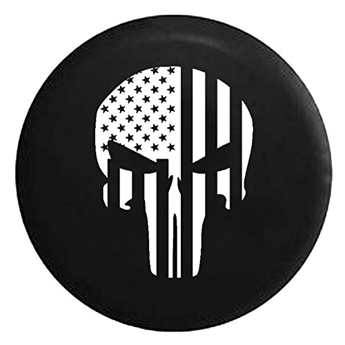 American Flag Tactical Stars & Stripes Punisher Skull Spare Jeep Wrangler Camper SUV Tire Cover White Ink 33 in