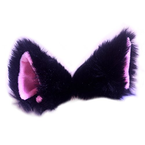 [Cutegirl Cat Fox Ears Long Fur Hair Clip Anime Cosplay Party Costume Black and Pink] (Cat Halloween Costume Makeup)
