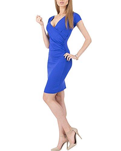 Moollyfox Mujer Vestido Estilo Jersey Corto Manga V-cuello Plisado Lápiz Vestido de Corte Azul