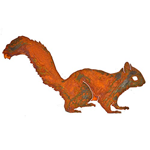 Elegant Garden Design Alert Squirrel, Steel Silhouette with Rusty Patina