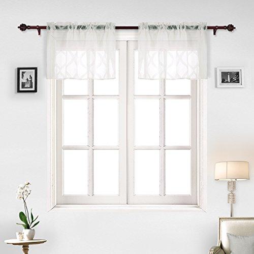 Jacquard Polyester Valance - Deconovo Sheer Curtains Moroccan Trellis Design Jacquard Window Curtains Valance Set 52X18 Off White
