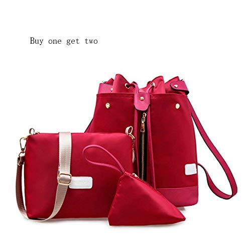 Mhxzkhl Fashion Versatile In Nylon Impermeabile Tre Pezzi Zaino Casuale Combinazione, Elegante Borsa Crossbody, Multi-Funzionale Borsa Cosmetica, Borsa Romantica,Red Red