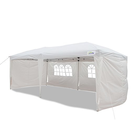 Goutime Uscanopy Easy Pop up Canopy Wedding Party Tent, 10 X 20-feet, W/4 Removable Sidewalls W/Wheel Bag White