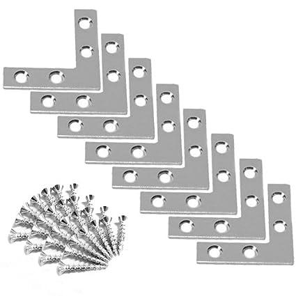 Wideskall 1.5 inch Flat Corner Angle Brace Repair Plated Bracket w//Screws Pack of 40