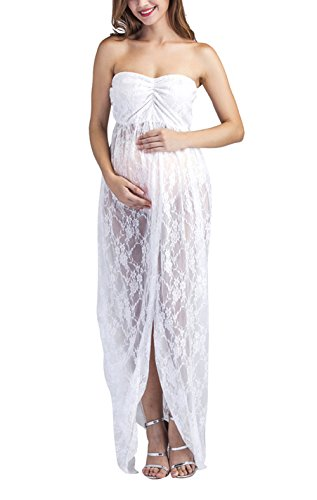 Yomoko Maternity Lace Gown Split Front Maxi Photography Dress for Poto Shoot Party Dress (Medium, White) - Sexy Pregnant Costumes
