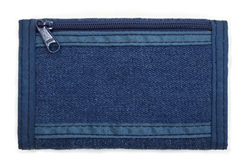ROUGH ENOUGH Multi-Functional Soft Demin Jean Vintage Fancy Classic Trifold Slim Small Portable Canvas Wallet Coins Purse Credit Card Holder Cash Bag Organizer Pouch with Zipper Pocket for Kid Boy