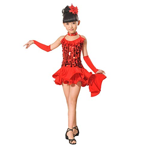 Kehen Kid Girls Sleeveless Halter Sequin Dress Latin Salsa Dancewear Clothes Red ()