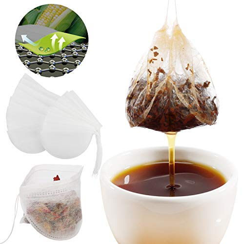 Veetio Tea Filter Bags with Tea Spoon, 3D Ultra-Thin Corn Fiber Drawstring Sealing Disposable Empty Tea Bags for Loose Leaf Tea and Coffee (100pcs) ()